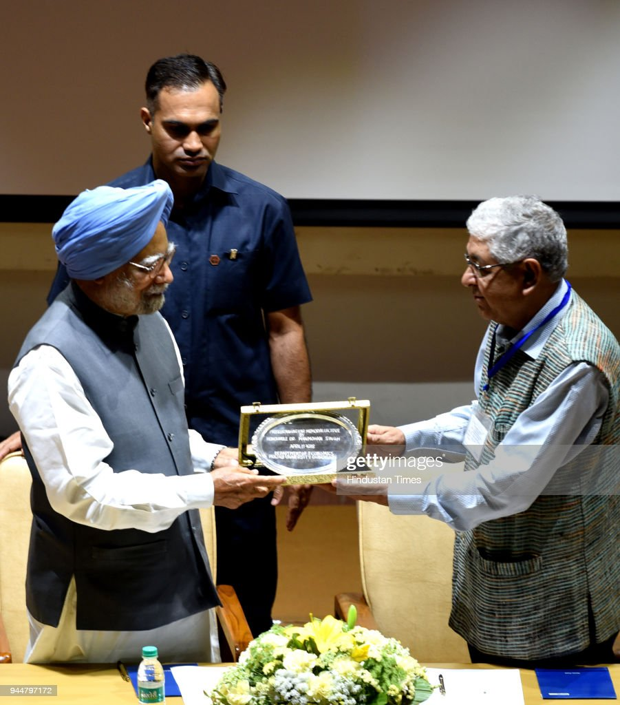 Former Prime Minister Manmohan Singh along with VC Arun Grover during the 1st Prof SB Rangekar Memorial oration on the 70th Anniversary of our...