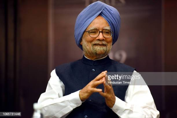 Former Prime Minister Manmohan Singh during a launch of Congress leader Manish Tewari's book titled Fables of Fractured Times, at India International...