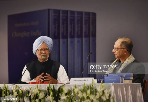 Former Prime Minister Manmohan Singh in conversation with professor Kaushik Basu during his book launch, Changing India, at the IIC, on December 18,...