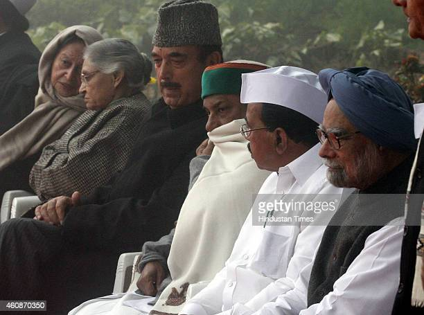 Former Prime Minister Manmohan Singh with Congress leaders Ghulam Nabi Azad AK Antony Veerapa Moily Ghulam Nabi Azad and others after flag hoisting...