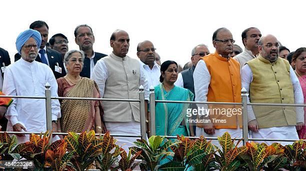 Former Prime Minister Manmohan Singh with his wife Gursharan Kaur Home Minister Rajnath Singh External Affairs Minister Sushma Swaraj Finance...