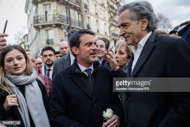 Former Prime Minister Manuel Valls and the writer and philosopher Bernard Henry Levy at the Silent March In Memory Of Mireille Knoll who survived the...