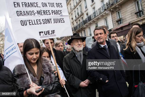 Former Prime Minister Manuel Valls at the Silent March In Memory Of Mireille Knoll who survived the Holocaust but was recently murdered in her home...