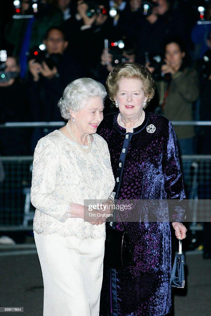 Former Prime Minister Margaret Thatcher R And Queen Elizabeth II Talk Upon Thatchers Arrival