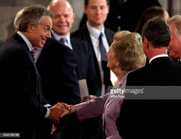 Former Prime Minister Margaret Thatcher greets Former Prime Minister Tony Blair at Westminster Hall on September 17, 2010 in London, United Kingdom....