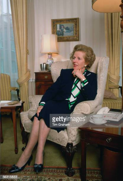Former Prime Minister Margaret Thatcher in the living room at 10 Downing Street London United Kingdom