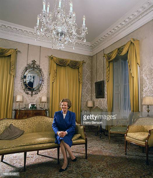 Former prime minister Margaret Thatcher is photographed for Vanity Fair Magazine on June 1, 1989 at 10 Downing Street in London, England.