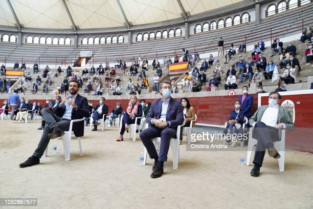 Former Prime Minister Mariano Rajoy President of the Xunta of Galicia Alberto NúñezFeijóo and President of the PP Pablo Casado attend a campaign...