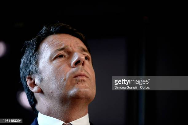 Former Prime Minister Matteo Renzi holds a press conference before the Italian Senate Meets To Schedule No Confidence Vote In Government, on August...