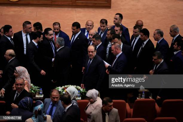 Former Prime Minister Nouri alMaliki leader of State of Law coalition attends the opening session of New Iraqi parliament at the Parliament Building...
