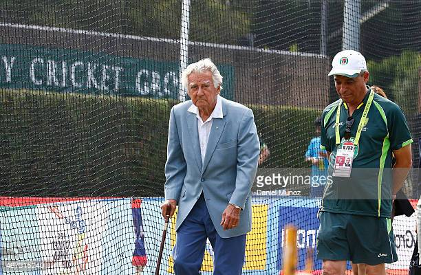 Former Prime Minister of Australia Bob Hawke leaves an Australian nets session at Sydney Cricket Ground on March 23 2015 in Sydney Australia