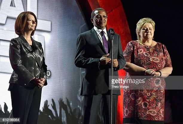 Former Prime Minister of Australia Julia Gillard Former Tanzania President Jakaya Kikwete and Prime Minister of Norway Erna Solberg speak onstage...