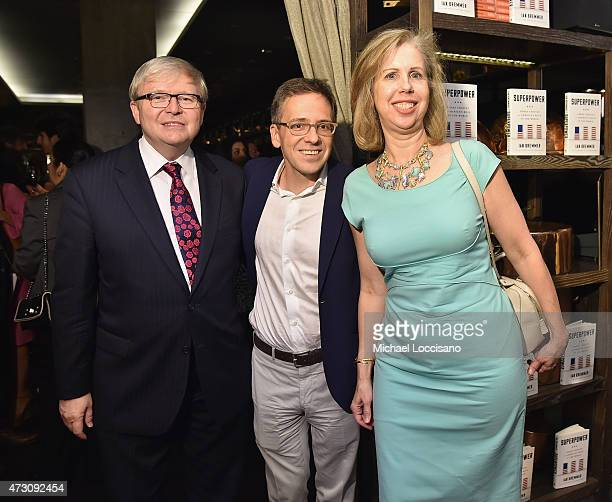 Former Prime Minister of Australia Kevin Rudd, Author Ian Bremmer, and Managing Editor, Time Magazine Nancy Gibbs attend the book party for Bremmer's...