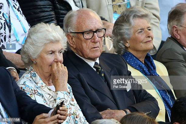 Former Prime Minister of Australia Malcolm Fraser watches the action at Rod Laver Arena during day 12 of the 2015 Australian Open at Melbourne Park...