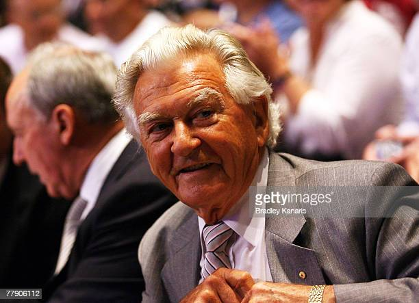 Former Prime Minister of Australia Mr Bob Hawke attends the Australian Labor party campaign launch held at the Queensland Performing Arts Centre on...