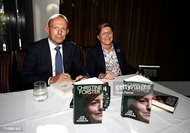 Former Prime Minister of Australia Tony Abbott and his sister Christine Forster attend the launch of 'Life, Love & Marriage' by Christine Forster on...