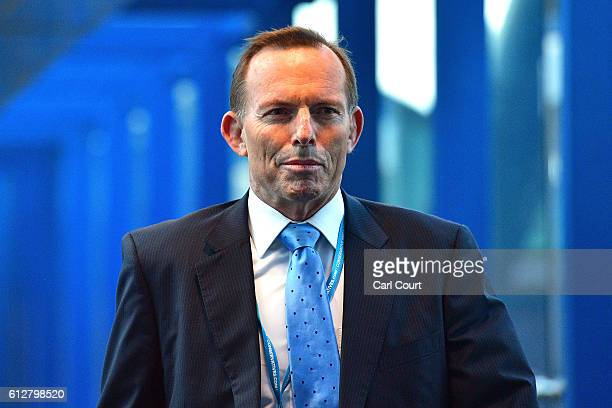 Former Prime Minister of Australia Tony Abbott arrives for the fourth day of the Conservative Party Conference 2016 at the ICC Birmingham on October...