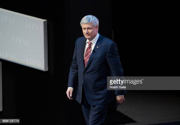 Former Prime Minister of Canada Stephen Harper speaks onstage at the AIPAC 2017 Convention on March 26 2017 in Washington DC