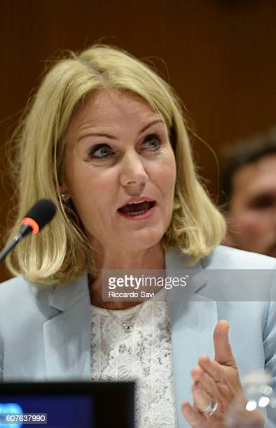 Former Prime Minister of Denmark Helle Thorning Schmidt speaks on September 18 2016 in New York City