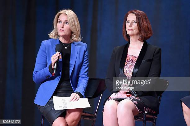 Former Prime Minister of Denmark Helle ThorningSchmidt and Former Prime Minister of Australia Julia Gillard speak onstage at Global Citizen The World...