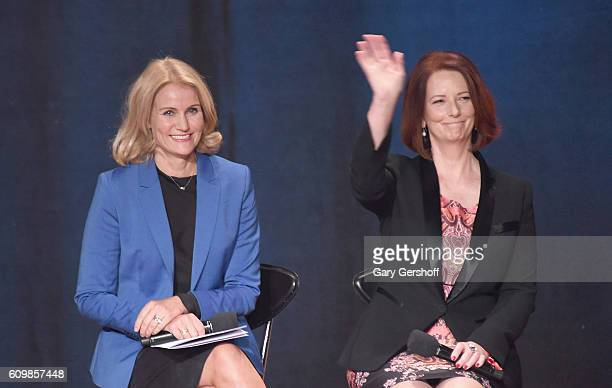 Former Prime Minister of Denmark Helle ThorningSchmidt and Former Prime Minister of Australia Julia Gillard seen onstage 2016 Global Citizen The...