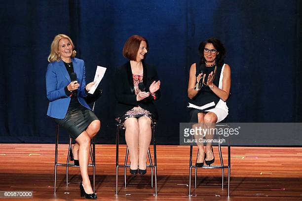 Former Prime Minister of Denmark Helle ThorningSchmidt and Former Prime Minster of Australia Julia Gillard attend 2016 Global Citizen The World On...