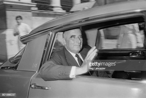 Former Prime Minister of France Georges Pompidou waving from the back seat of a Citroen DS Paris 1st May 1969 Pompidou has recently announced his...