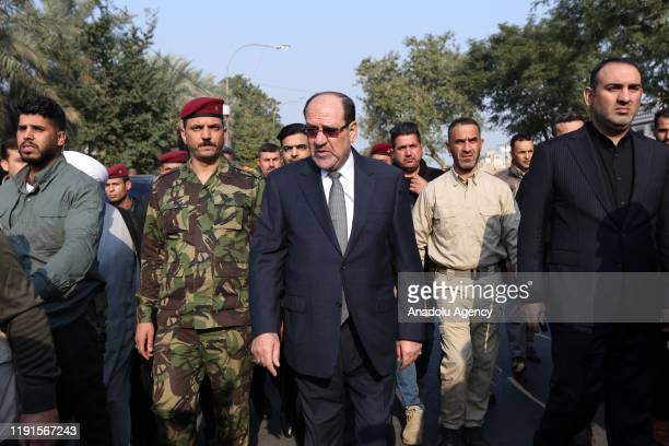 Former Prime Minister of Iraq Nouri al-Maliki attends the funeral ceremony of Qasem Soleimani, commander of the Iranian Revolutionary Guards' Quds...