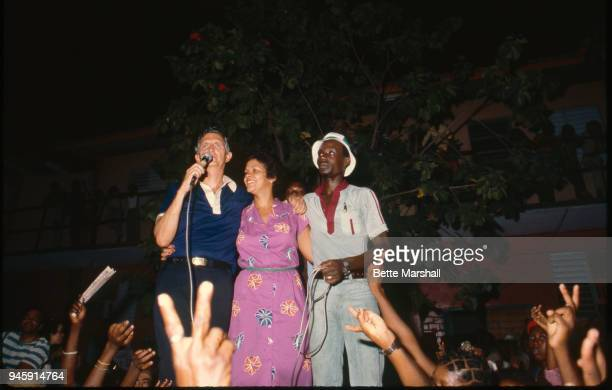 Former Prime Minister of Jamaica Edward Seaga and wife Mitsy Seaga are photographed on election night in 1980 in Jamaica