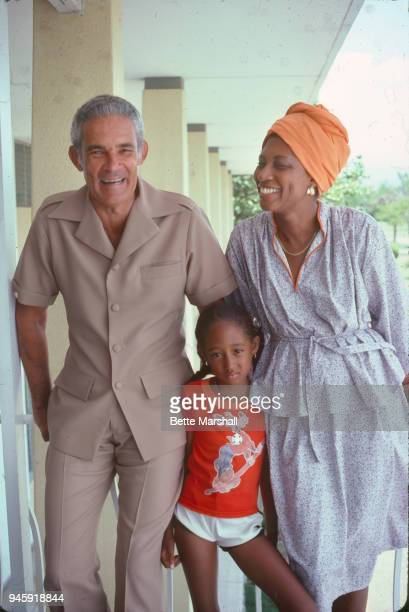 Former Prime Minister of Jamaica Michael Manley wife Beverley Manley and daughter Natasha Manley are photographed in 1980 in Jamaica