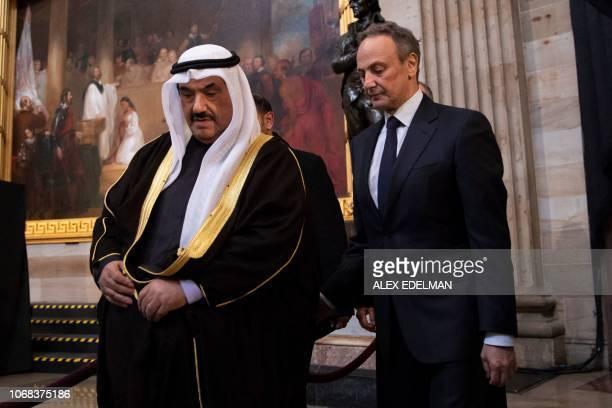 Former Prime Minister of Kuwait Nasser Mohammed Ahmad AlJaber AlSabah and Ambassador Salem Abdullah AlJaber AlSabah arrive in the Rotunda of the US...