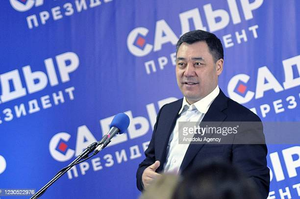 Former Prime Minister of Kyrgyzstan, Sadyr Japarov holds a press conference after unofficial election results show %79,18 votes in favor in the...