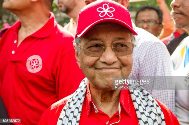 Former Prime Minister of Malaysia Mahathir Mohamad delivers a speech to the crowd during during a protest in Kuala Lumpur Malaysia on December 15...
