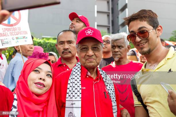 Former Prime Minister of Malaysia Mahathir Mohamad pictured during during a protest in Kuala Lumpur Malaysia on December 15 2017 They are protesting...