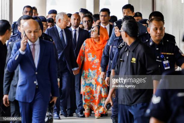 Former Prime Minister of Malaysia Najib Razak and wife Rosmah Mansor leave Kuala Lumpur High Court after court sets RM 2 million bail for Rosmah...