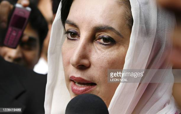 Former Prime Minister of Pakistan Benazir Bhutto arrives for a meeting in West London, 03 October 2007. Pakistani power-sharing talks with President...