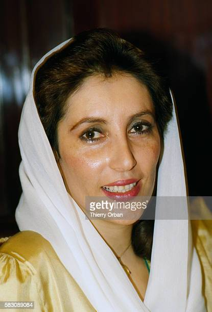 Former Prime Minister of Pakistan Benazir Bhutto at home in Karachi following her dismissal from the government
