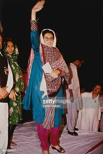 Former Prime Minister of Pakistan Benazir Bhutto denounces the arrest of her husband Asif Ali Zardari as part of a plot to discredit the family in...