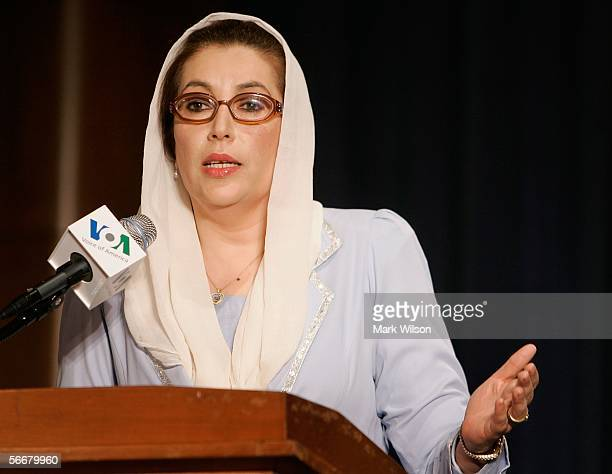 Former Prime Minister of Pakistan Benazir Bhutto speaks during a news conference at the Voice of America January 26 2006 in Washington DC Bhutto...