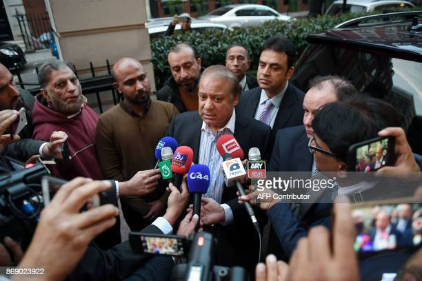 Former Prime Minister of Pakistan, Nawaz Sharif interacts with the media in central London on November 1, 2017. A Pakistani court on October 26...