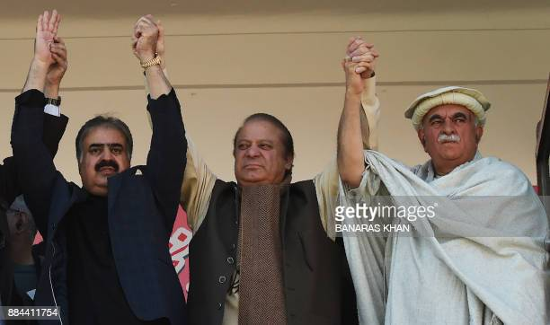 Former prime minister of Pakistan Nawaz Sharif joins hands in solidarity with Balochistan Chief Minister Sanaullah Zehri and Pakhtunkhwa Milli Awami...