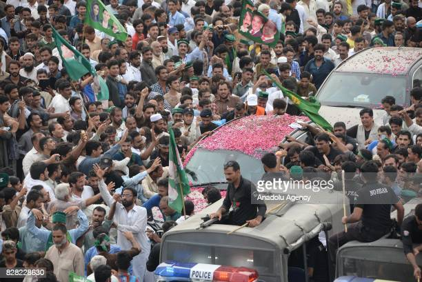Former Prime Minister of Pakistan Nawaz Sharif salutes people during a rally in Islamabad Pakistan on August 09 2017 Thousands of Sharif's supporters...