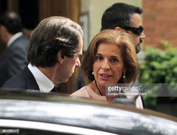 Former Prime Minister of Spain Jose Maria Aznar and his wife former Madrid Mayor Ana Botella are seen leaving 'El Paraguas' restaurant on May 17 2017...