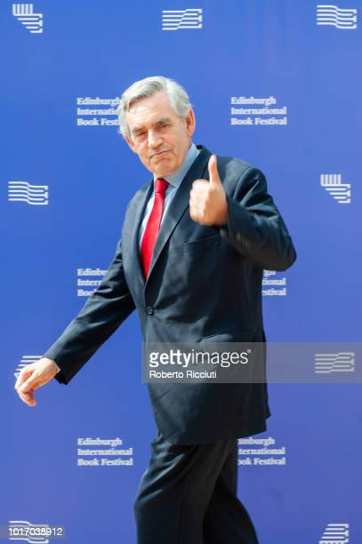 Former Prime Minister of the United Kingdom Gordon Brown attends a photocall during the annual Edinburgh International Book Festival at Charlotte...