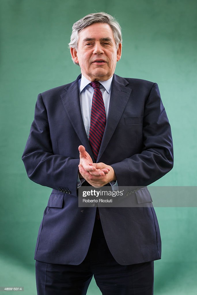 Former Prime Minister of the United Kingdom Gordon Brown attends a photocall at Edinburgh International Book Festival on August 30, 2015 in Edinburgh, Scotland.