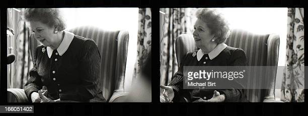 Former Prime minister of the United Kingdom Margaret Thatcher is photographed at number 10 Downing Street on May 13 1990 in London England