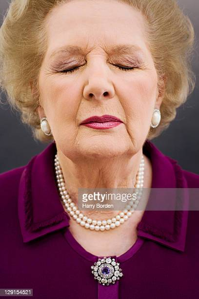 Former Prime minister of the United Kingdom Margaret Thatcher is photographed for Time Inc on October 9 2006 in London England