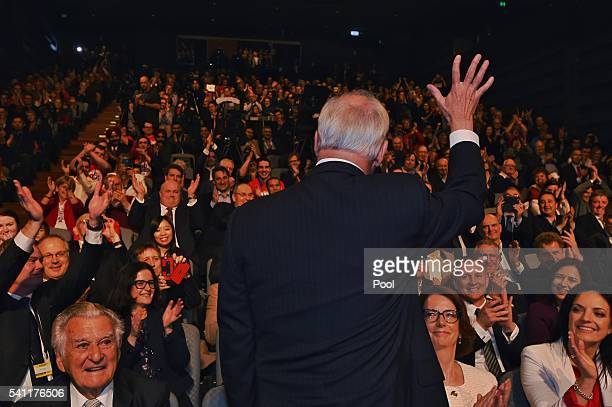 Former prime minister Paul Keating is introduced by the Leader of the Opposition Bill Shorten at the Labor campaign launch at the Joan Sutherland...