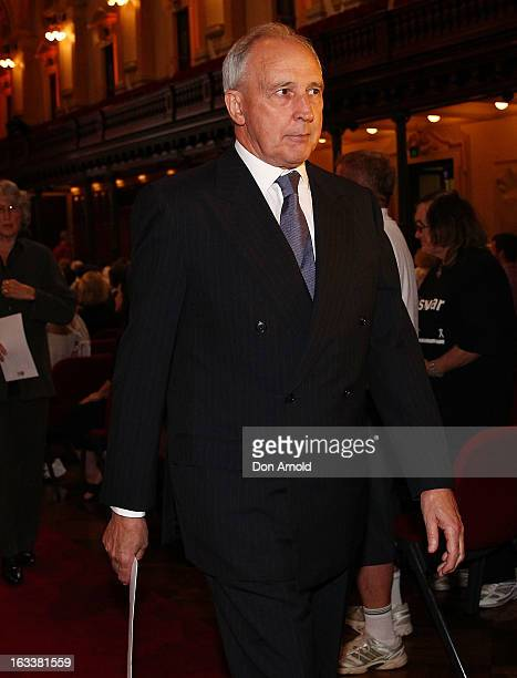 Former Prime Minister Paul Keating is seen leaving the public memorial for Peter Harvey at Sydney Town Hall on March 9 2013 in Sydney Australia...