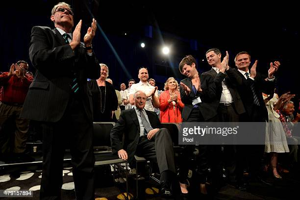 Former Prime Minister Paul Keating is welcomed during the Labor party campaign launch at the Brisbane Convention and Exhibition Centre on September 1...